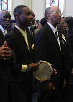 Deacon with tambourine. Divine Worship Experience 02-25-2012, (Official Berean SDA Church Photo by David Stewart Jr)